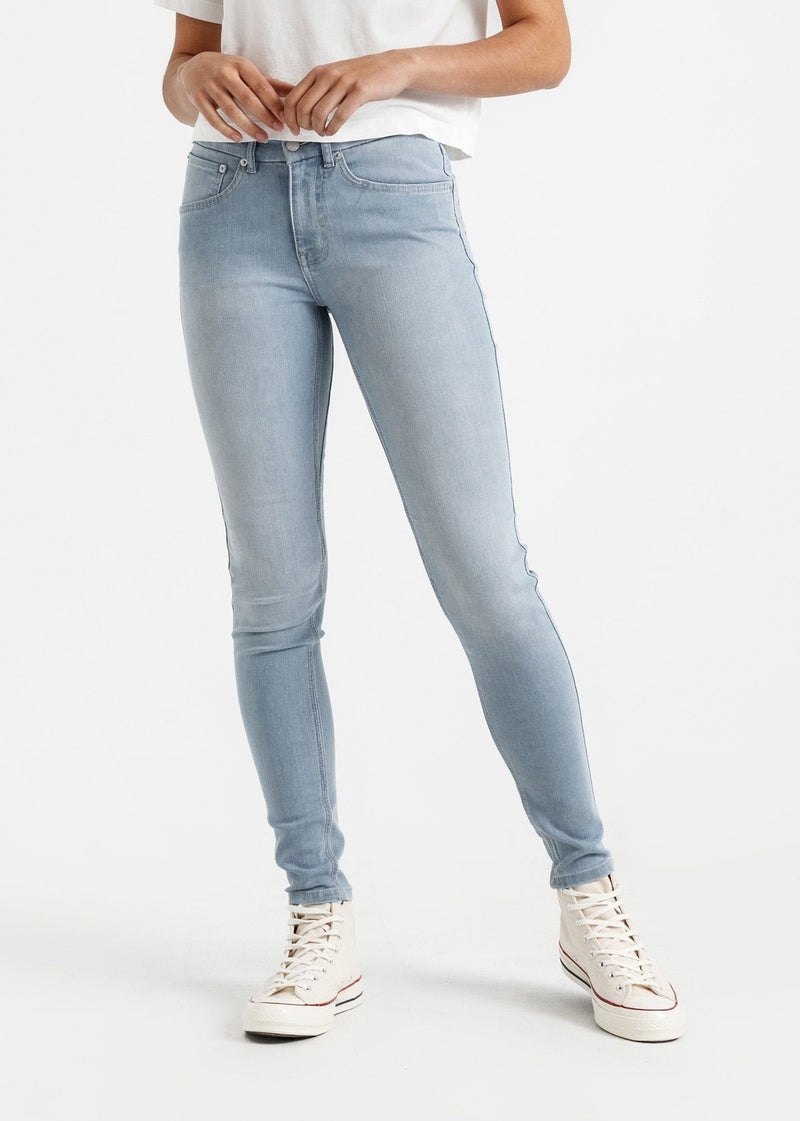 womens light blue mid rise skinny fit stretch jeans front