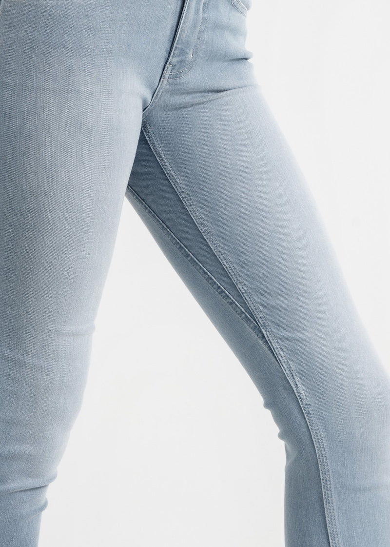 womens light blue mid rise skinny fit stretch jeans side detail