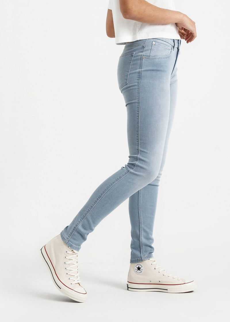 womens light blue mid rise skinny fit stretch jeans side