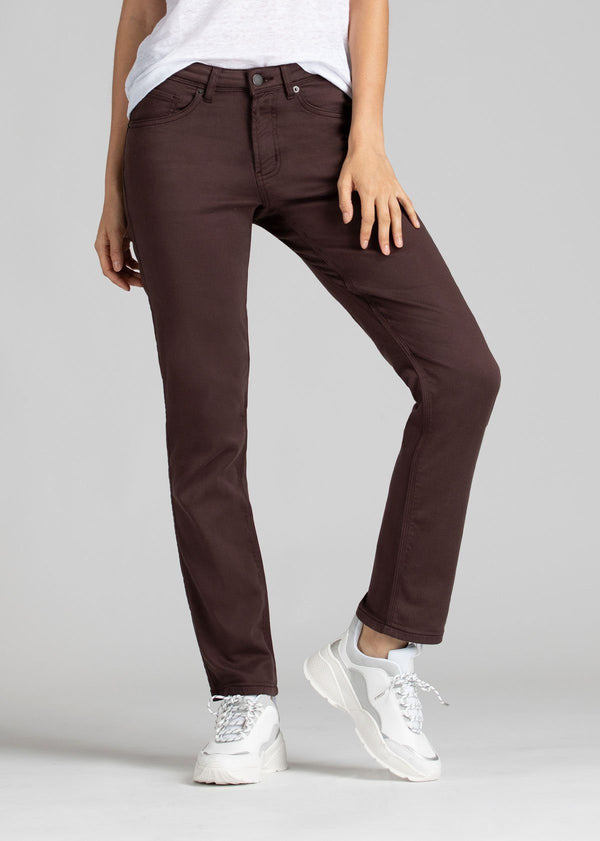 womens purple brown slim straight fit dress sweatpant front