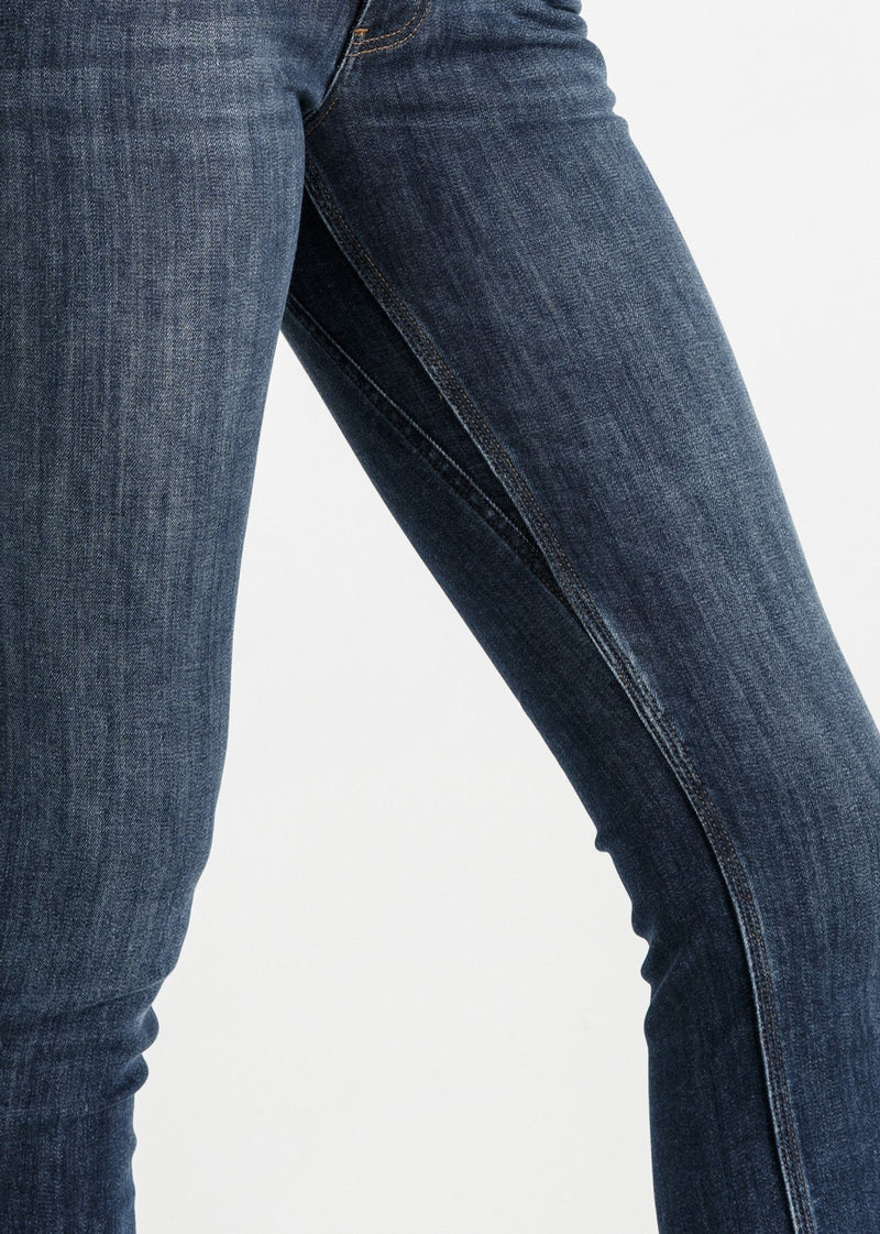 womens medium blue wash slim straight fit stretch jeans side detail