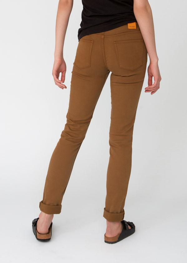 womens orange brown slim straight fit dress sweatpant back