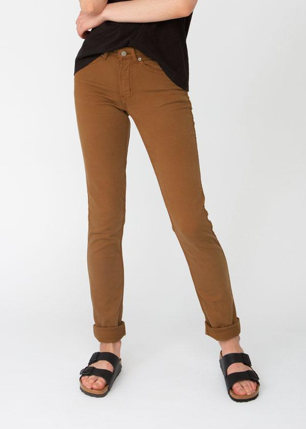 womens orange brown slim straight fit dress sweatpant front
