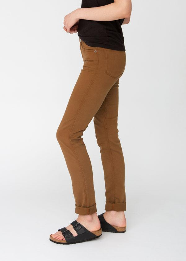 womens orange brown slim straight fit dress sweatpant side