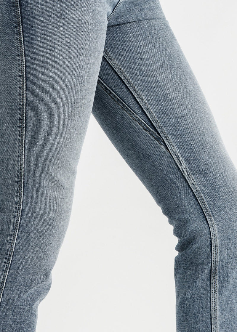 womens vintage blue high rise straight stretch jeans side detail