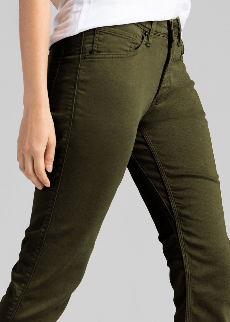 womens army green slim straight fit dress sweatpant side detail
