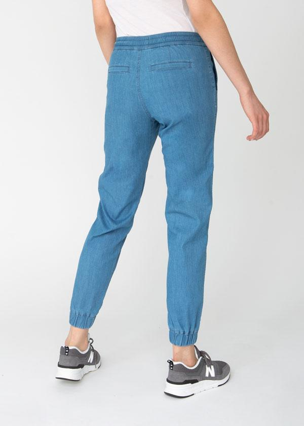 womens blue lightweight summer denim joggers back