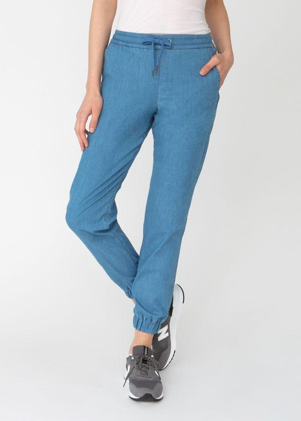 womens blue lightweight summer denim joggers front