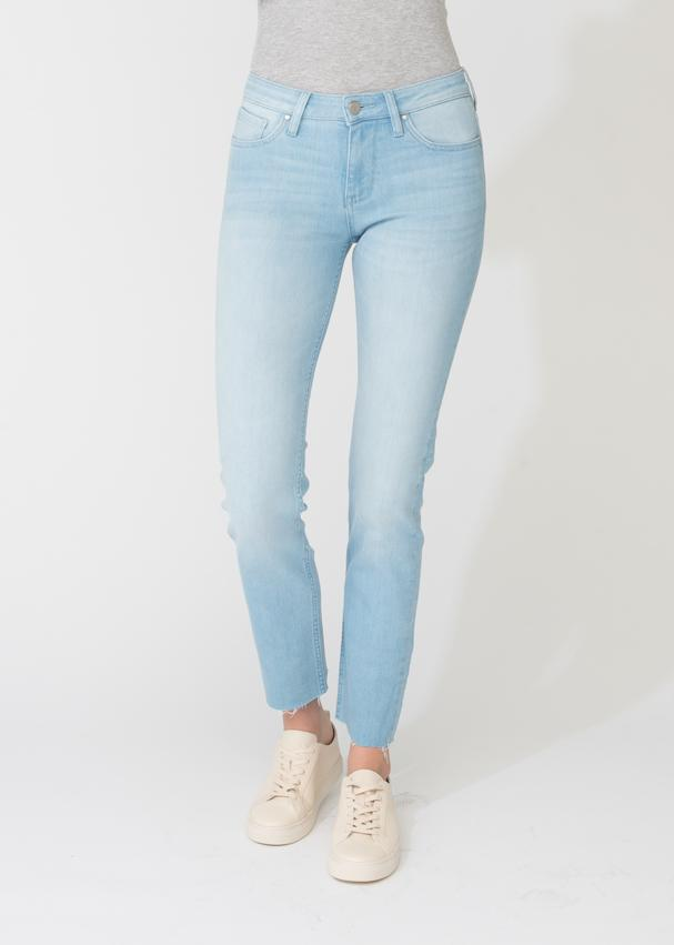 womens denim straight narrow fit raw hem light blue wash front