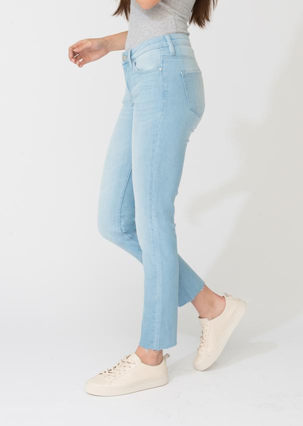 womens denim straight narrow fit raw hem light blue wash side