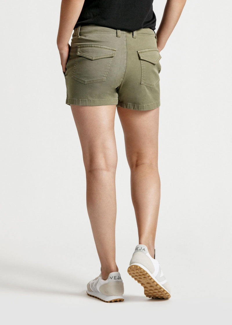 womens green adventure athletic shorts back