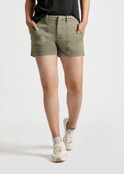 womens green adventure athletic shorts front