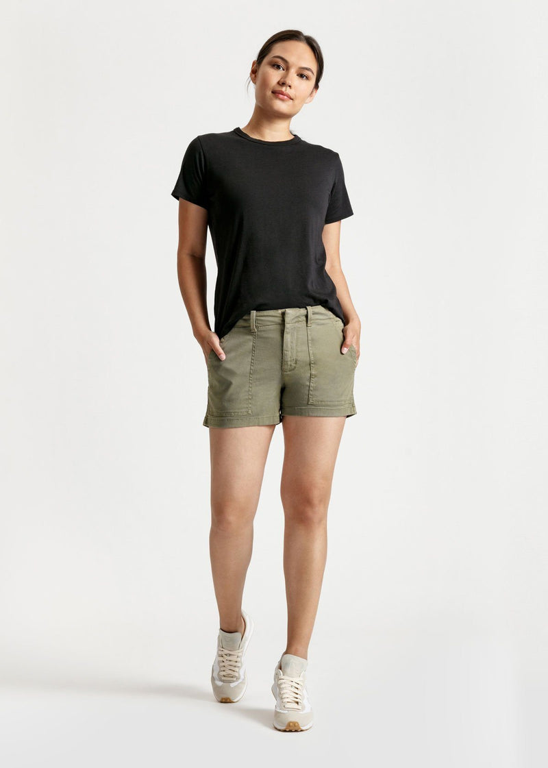 womens green adventure athletic shorts full body