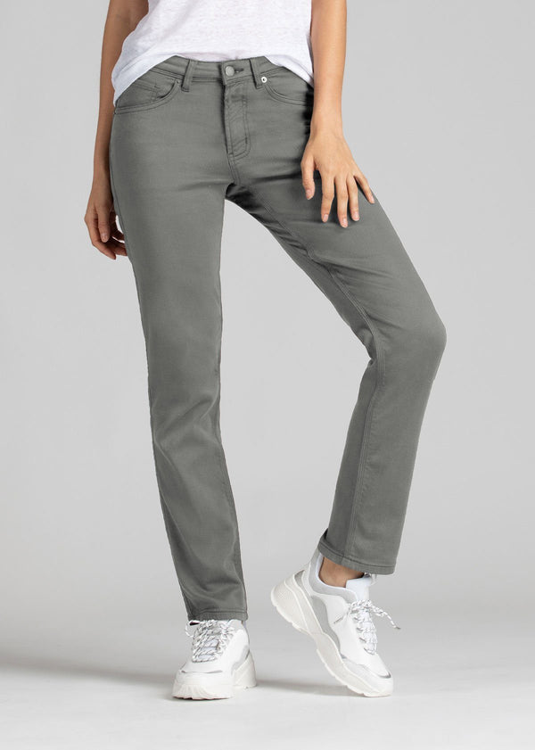 womens grey slim straight fit dress sweatpant front