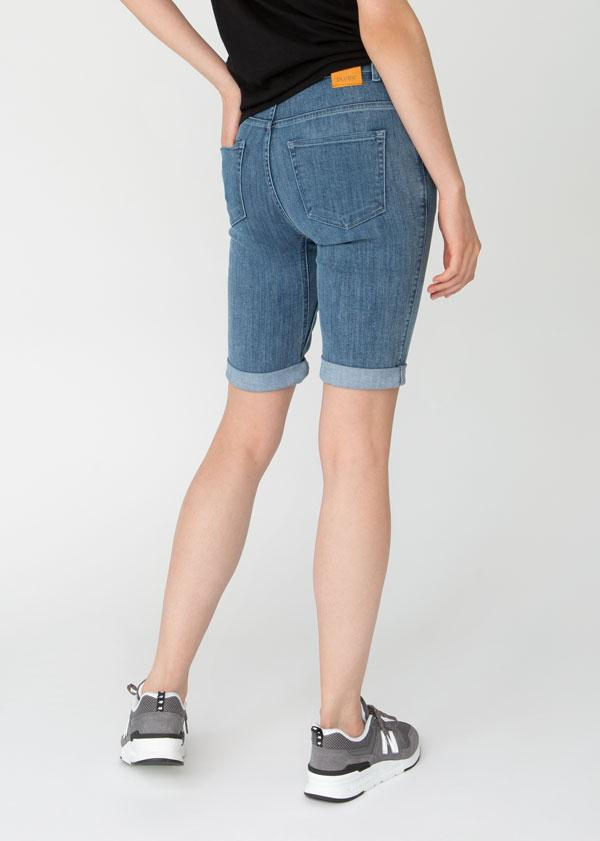 womens light blue denim commuter short back