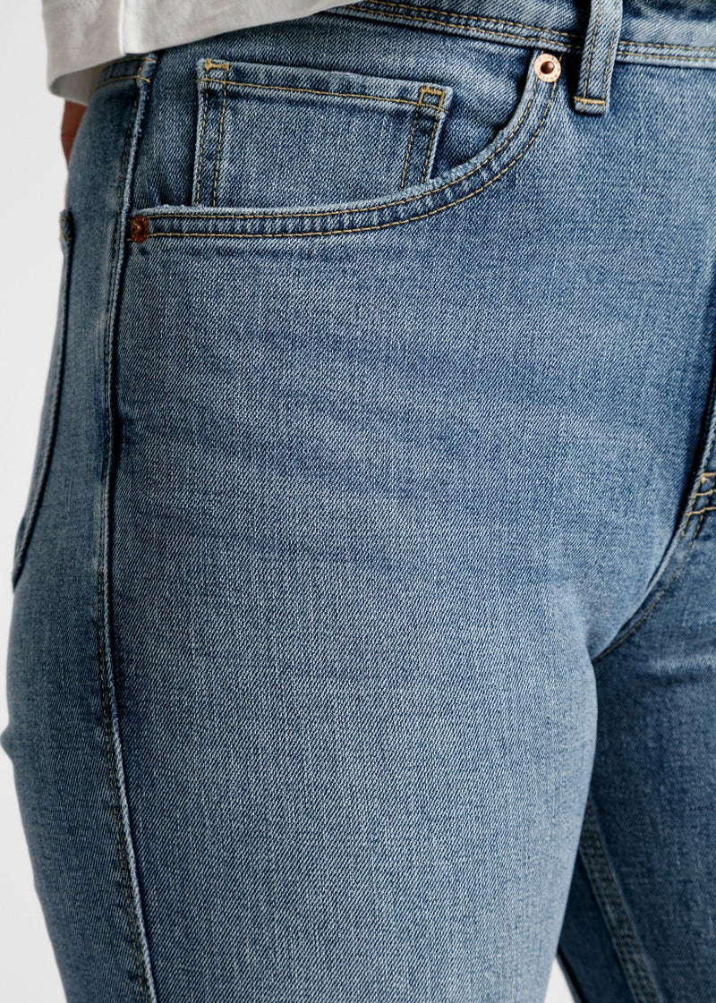 womens light blue high rise straight stretch jeans pocket detail