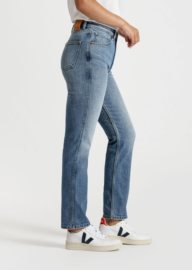womens light blue high rise straight stretch jeans side