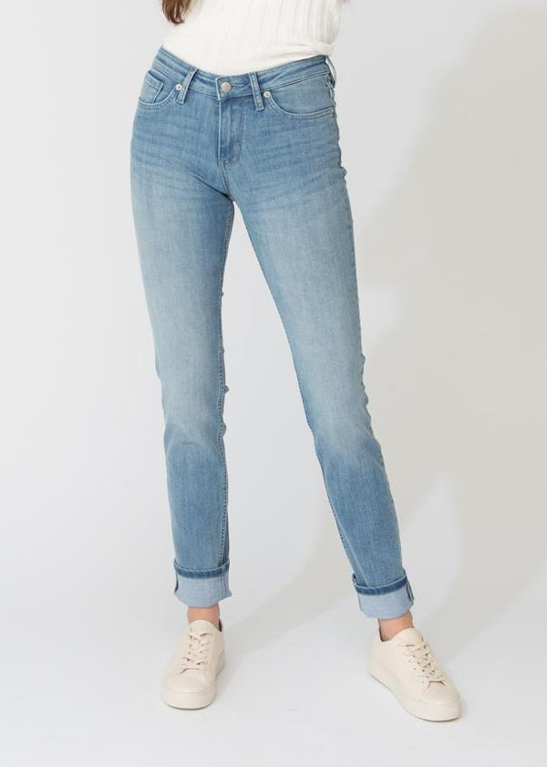 womens light blue stretch denim straight and narrow fit front