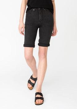 womens washed black denim commuter short front