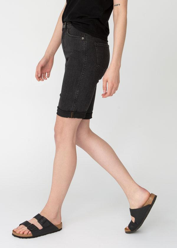 womens washed black denim commuter short side