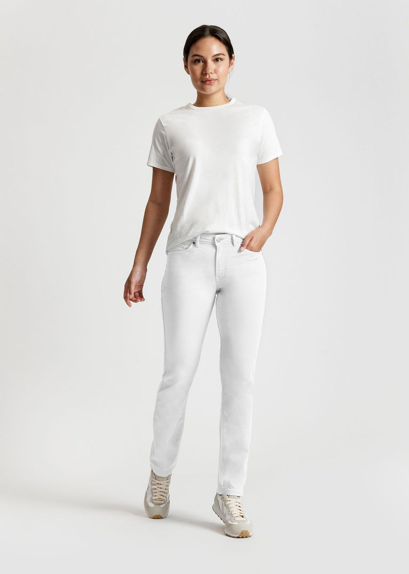 womens white slim straight fit dress sweatpant full body