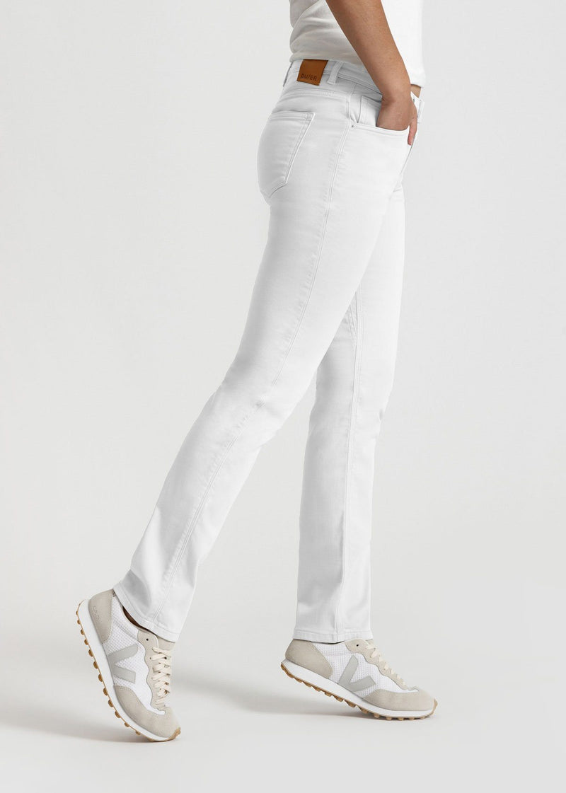 womens white slim straight fit dress sweatpant side