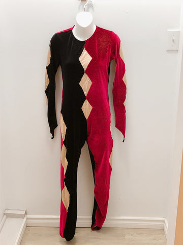 Red + Black  Unitard- Ladies Small