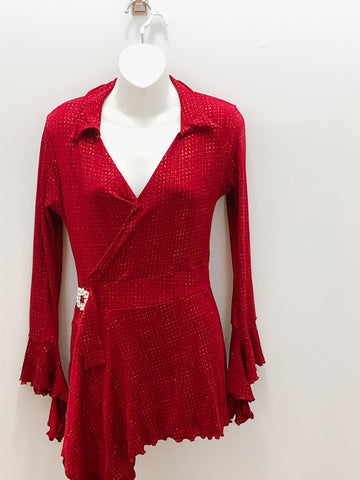 Red wrap dress with Flared Sleeve- Children's size 14