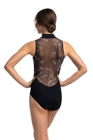 Ainsliewear Adults Zip Front Leotard with Dragonfly Mesh Back