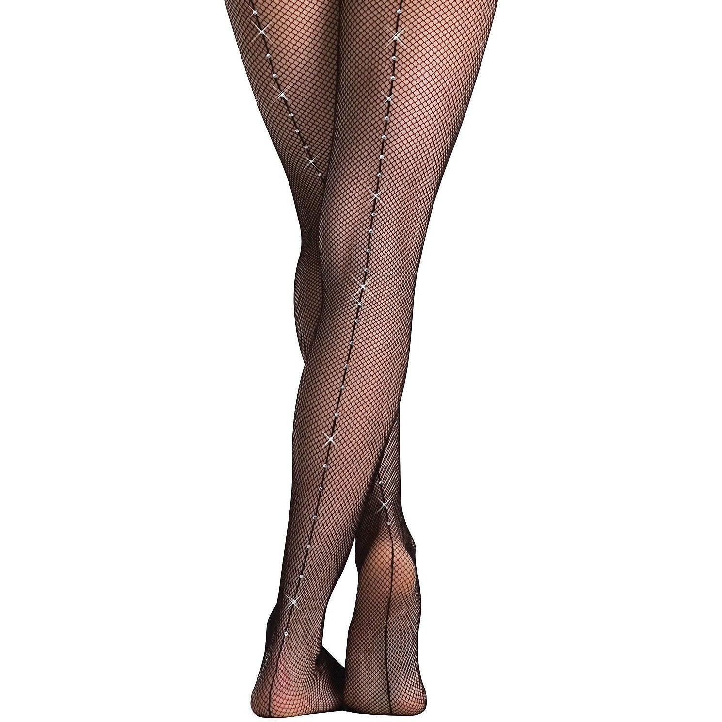 Body Wrappers Full Footed Rhinestone Seamed Fishnet-Adult