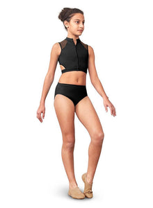 BLOCH Kids High Neck Zip Front Crop Top