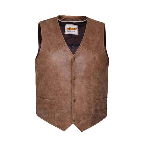 Mens traditional snap front ARIZONA BROWN vest