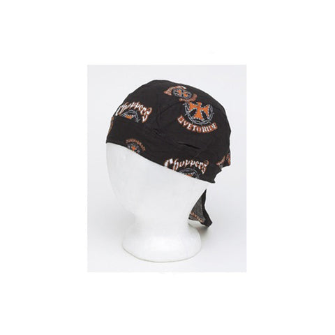 Cotton Skull Cap With Chopper Cross & Live To Ride Logo