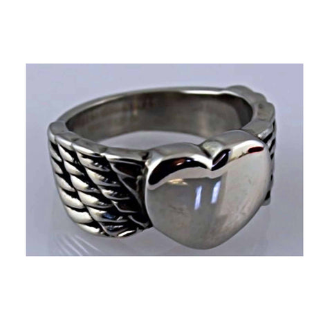 STAINLESS STEEL LADIES WINGED HEART RING