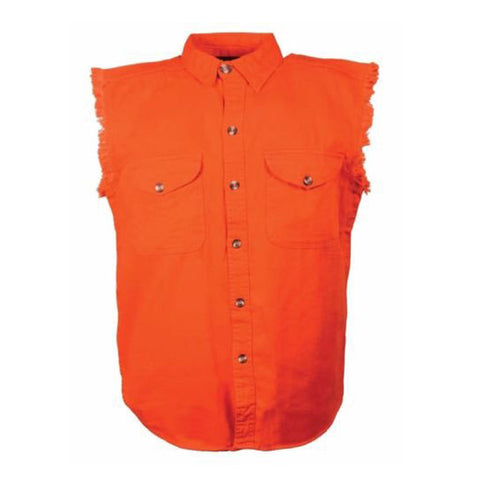 MEN'S MOTORCYCLE ORANGE COTTON SLEEVELESS CUT OFF SHIRT WITH FRAYED SLEEVES GREY