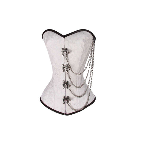 LADIES BROCADE CORSET WHITE WITH CHAINS