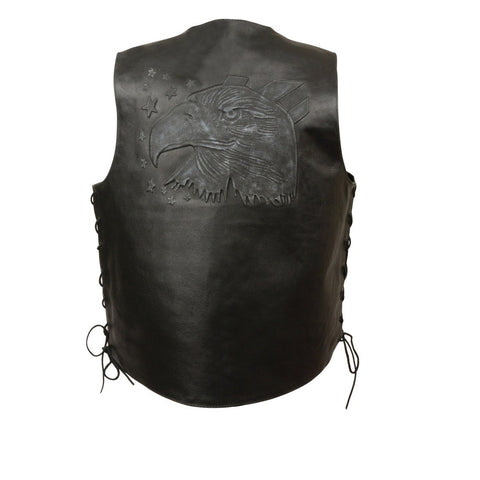 MEN'S BLACK LEATHER EAGLE HEAD & STARS EMBROIDERED VEST W/SIDE LACES