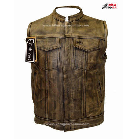 MEN'S MOTORCYCLE DISTRESSED BROWN SON OF ANARCHY STYLE LEATHER VEST GUN POCKETS