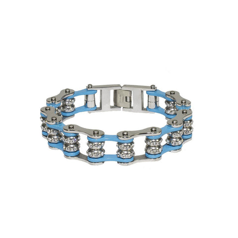 Powder Blue Motorcycle Chain Bracelet with Gemstones