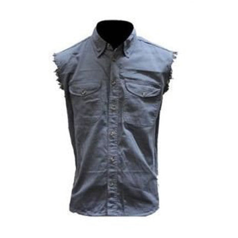 MEN'S MOTORCYCLE ASH COLOR COTTON SLEEVELESS CUT OFF SHIRT WITH FRAYED SLEEVES