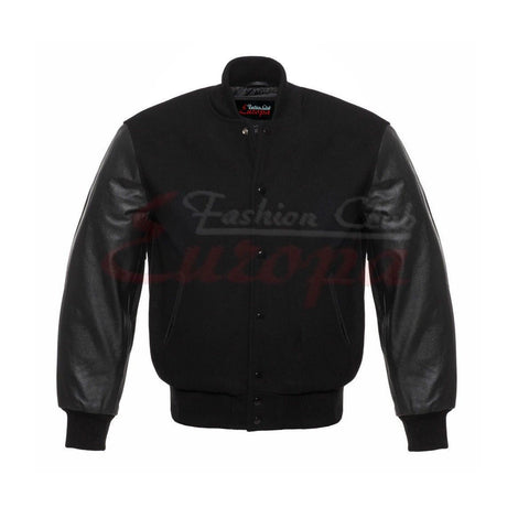 MEN'S REAL LEATHER/ WOOL VARSITY LETTERMAN JACKET ALL BLACK FREE SHIPPING
