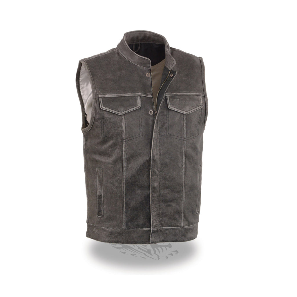 fcce8988b MEN'S DISTRESSED GREY OPEN NECK SNAP/ZIP FRONT CLUB STYLE VEST