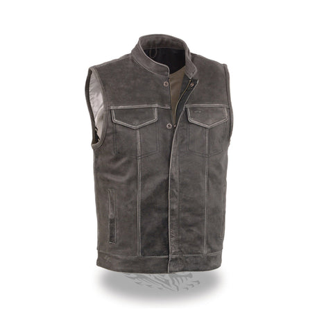 MEN'S DISTRESSED GREY OPEN NECK SNAP/ZIP FRONT CLUB STYLE VEST