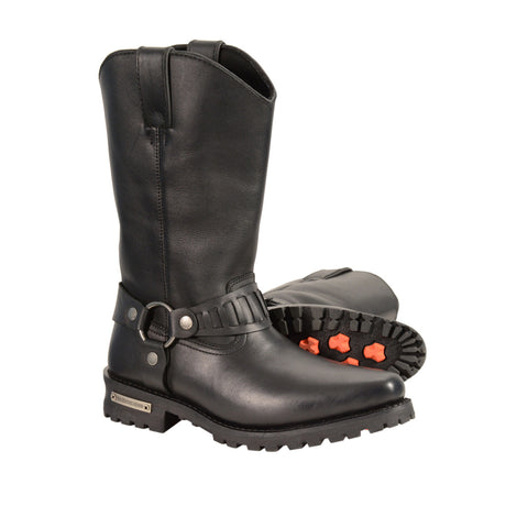 MEN'S REAL LEATHER J TOE COWBOY MOTORCYCLE HARNESS BOOTS