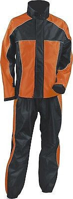 LADIES WOMEN'S MOTORCYCLE RAIN SUIT RAIN GEAR ORANGE BLACK WATERPROF LIGHTWEIGHT