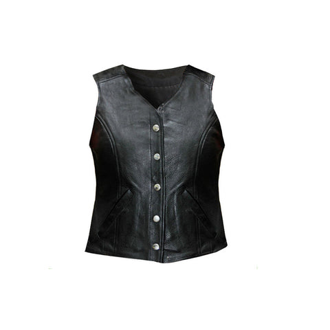 LADIES FIVE SNAP LEATHER VEST FROM VANCE LEATHER