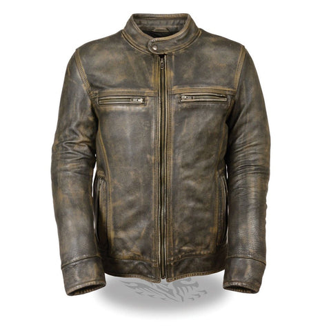 MEN'S MOTORCYCLE DISTRESSED BROWN SPORTY SCOOTER LEATHER JACKET W/2 GUN POCKETS