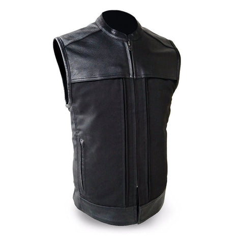 First Mfg's premier textile & Leather vest THE HIDEOUT