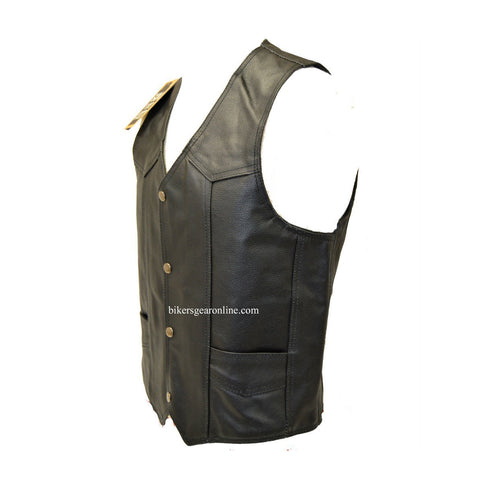 BIKERS COWHIDE PLAIN LEATHER VEST W/ 2 GUN POCKETS