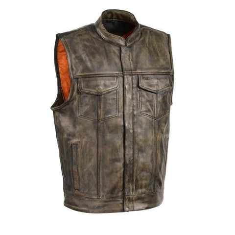 MEN'S DISTRESSED BROWN MOTORCYCLE SON OF ANARCHY STYLE LEATHER VEST W/GUN POCKET